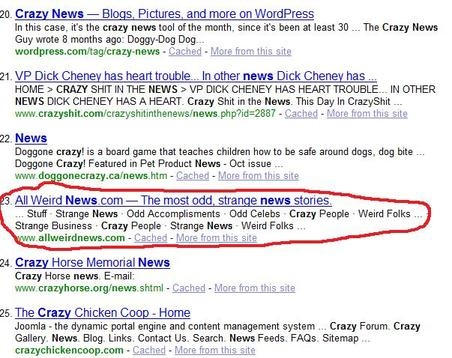 yahoo serps for crazy news